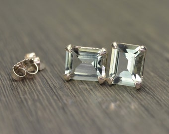 Prasiolite Earring, emerald cut large silver studs, 5ct tw prasiolite green amethyst