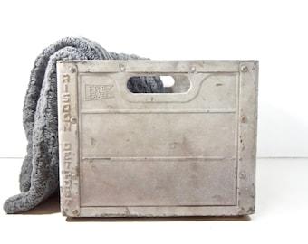 Vintage Metal Milk Crate / Risdon Dairy Detroit Michigan Metal Crate / Rustic Industrial Storage