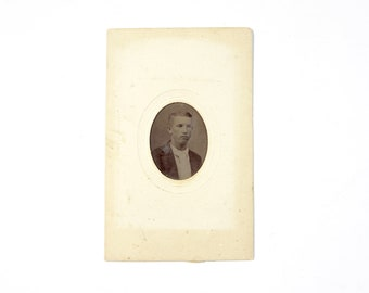 Vintage Tintype Photo of Young Man in Paper Frame / Victorian Era Tintype Photograph