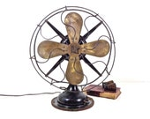 Vintage Robbins and Myers Electric Fan Working R M 12 quot Brass Blade Model 3804 Oscillating 3 Speed Table Top Desk Fan Industrial Decor