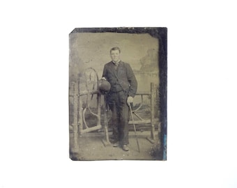 Vintage Tintype Photo of Young Man with Hat and Cane / Victorian Era Tintype Photograph