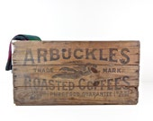 Vintage Wooden Advertising Crate, Large Arbuckles Coffee 100 Ib Wood Crate Lady Liberty Angel Graphics Rustic Farmhouse Storage Decor