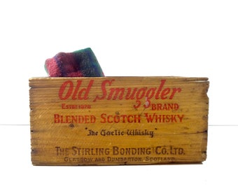 Vintage Wood Whisky Crate / Old Smuggler Scotch Whisky Wooden Crate / Rustic Industrial Decor