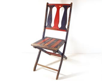 Vintage Wood Folding Chair / 1920s Carnival Game Rustic Painted Wooden Chair  Seat / Vintage Oddities