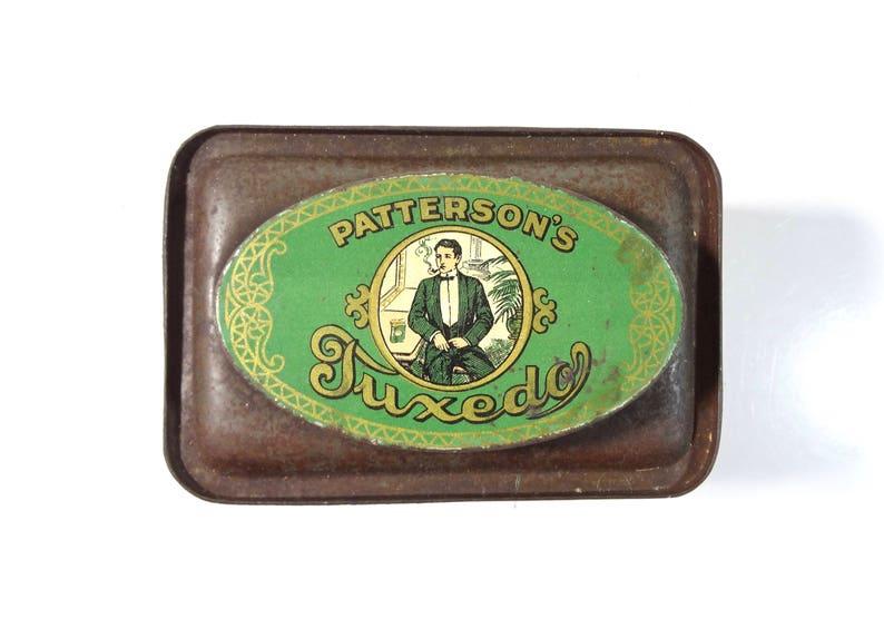 Vintage Tuxedo Tobacco Tin Box  Rare One Pound Oval Top Patterson/'s Tuxedo Tobacco Advertising Tin Canister