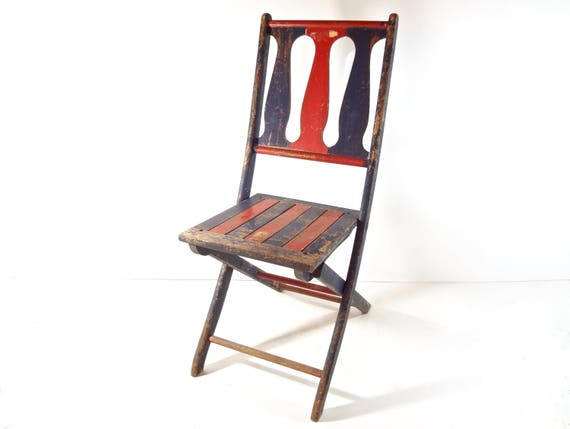 image 0 - Vintage Wood Folding Chair / 1920s Carnival Game Rustic Etsy