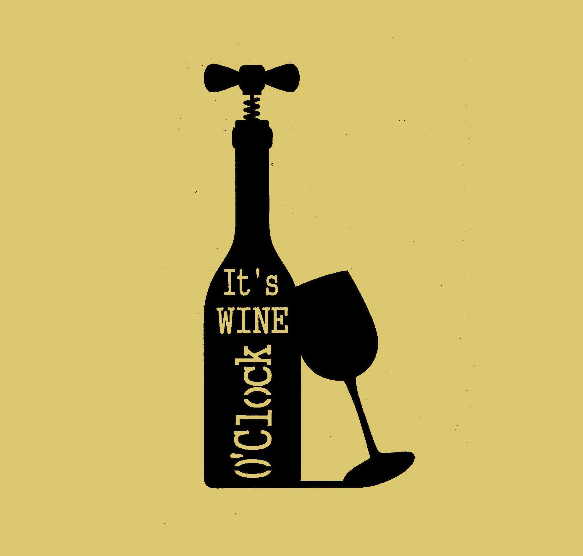 It\'s wine o\'clock metal art Wall Decor | Etsy