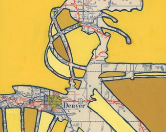 Denver no.2 -small print-  Golden, Aurora,Colorado - bike print, bicycle art print using vintage map
