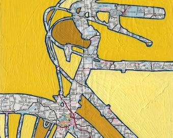 Madison - small print- featuring Madison, Waunakee, Lake Mendota, Lake Kegonsa, Wisconsin -bike print, bicycle art, cycle gift