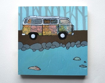 VW Westfalia mounted print - Great Lakes, midwest, camp road trip, Volkswagon, RV,  camper art block