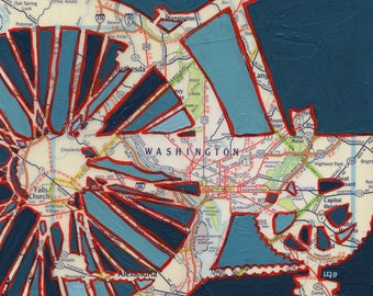 Washington DC - large print -  20x20 & 24x24 -bicycle map Falls Creek, Rock Creek Park, Highland Park bike art, map art