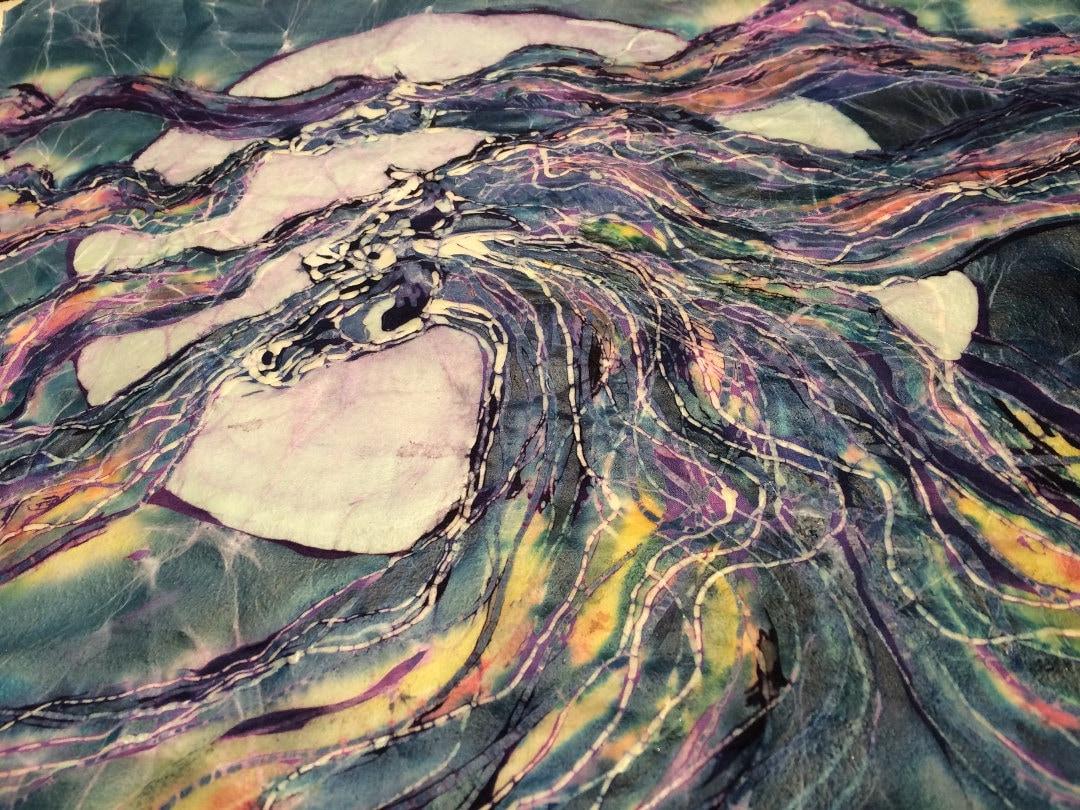Horse Spirit Twilight Falls Batik Print From Etsy