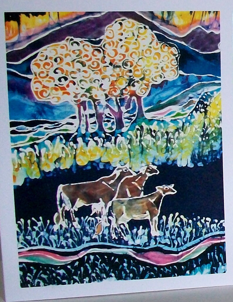 4 blank art cards Farm Animals cards pasture landscapes Sheep Cows