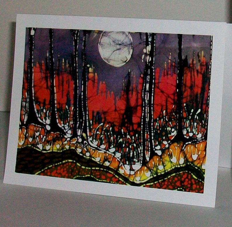 mystical Garden Moon Moon of all Time Batik Magical Landscape cards Evening in a Gentle Place Sheep in Moonlight 4 blank art car