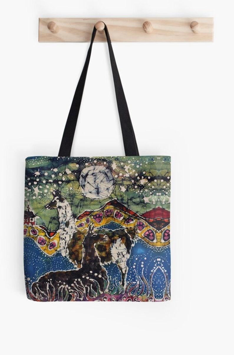 Unicorns Fantasy Tote Bag \u2022 Batik Art \u2022 Fantasy Llamas Mask Cows Over Moon