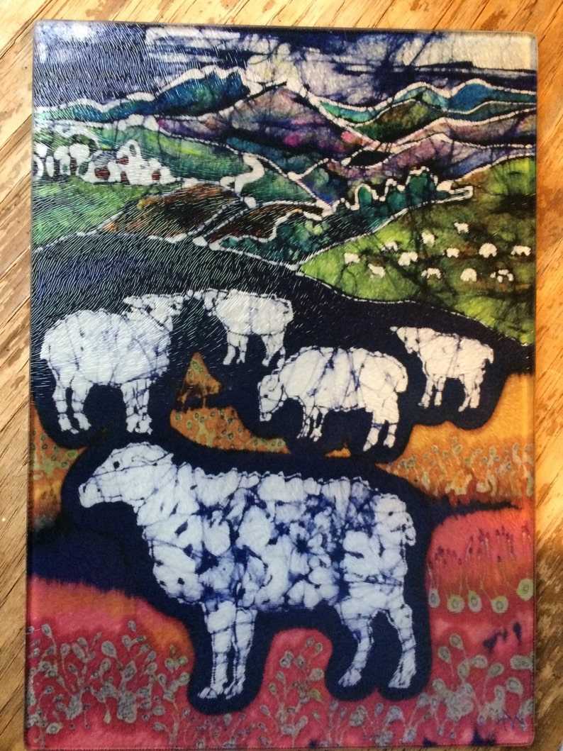 Sheep Cutting Board 8 x 11 Sheep at Midnight Detail from original batik by Carol