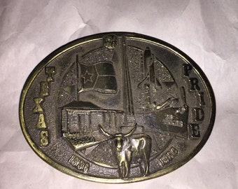 Beautiful Vintage 1984 Limited Edition Numbered Founding of Texas Belt Buckle