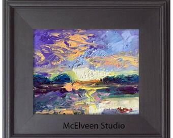 Claire McElveen Original Plein Air Oil landscape Small Oil Painting Sunrise Landscapes One of a kind Original