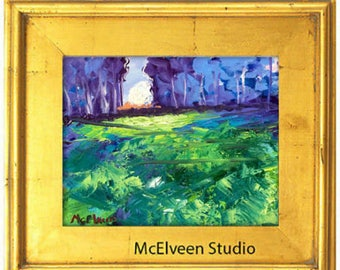 "Claire McElveen Original Plein Air Oil landscape Small Oil Painting ""Emerald Hillside"" landscapes one of a kind Original"