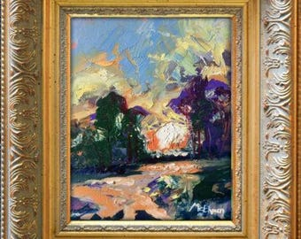 "Claire McElveen Original Plein Air Oil landscape Small Oil Painting 8 x 10 ""Natural Poetry"""