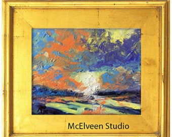 """Claire McElveen Original Plein Air Oil landscape Small Oil Painting """"Dawn's First Light"""" landscapes one of a kind Original"""
