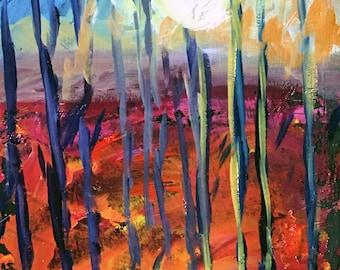 "Claire McElveen Original Plein Air Oil landscape Small Oil Painting ""Forest Moon"" landscapes one of a kind Original"