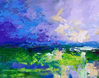 "Claire McElveen Original Plein Air Oil landscape ""Emerald Afternoon""  Southern Abstract Impresssionism"