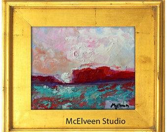 "Claire McElveen Original Plein Air Oil landscape Small Oil Painting 8 x 10 ""Red Mesa Desert"""