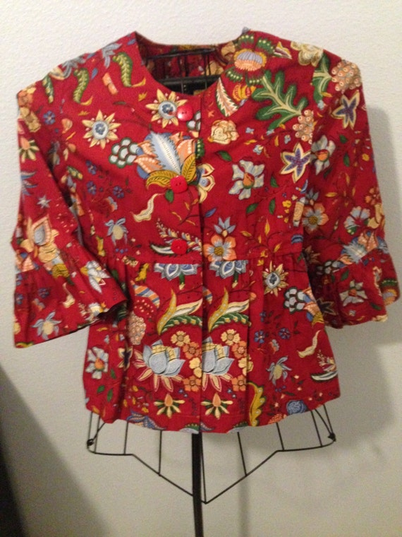 Red Print 1980 Painted Pony Blouse