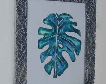 Original Abstract Painting Tropical Monstera Leave Original Watercolour With Frame, Ready To Hang, Tropical Home Decor