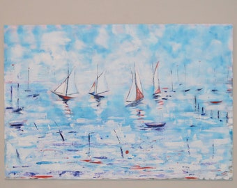 "Original Abstract XL Painting Boat Seaside Beach Sailing Art Acrylic Painting Large Wall Art Feature Wall ""Sails"" Bright Colour"