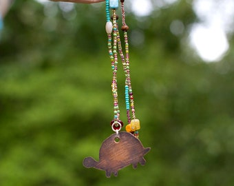 Turtle Totem beaded necklace