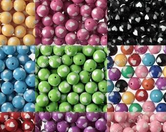 20mm Heart Gumball Beads, 20mm heart Beads, 20mm Gumball Beads, Chunky Heart Beads, Bubble Gum Beads, Acrylic Heart Bubblegum Beads 2mm Hole