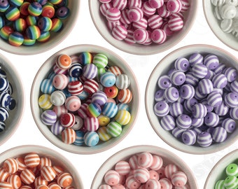 16mm Striped Gumball Beads, Striped Acrylic Round Beads, Striped Bubblegum Beads, 16mm Striped Beads, Chunky Bubble Gum Bead, 2mm Hole