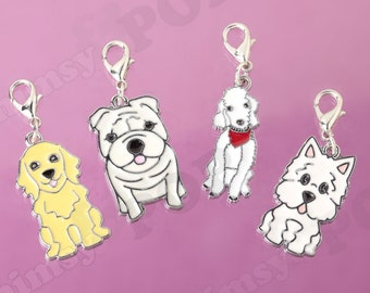 7ab2f112b 1 - NEW Silver Tone Dog Charm, Golden Retriever Charm, Bulldog Charm,  Poodle Charm, Westie West Highland Terrier Charm, Dog Charm (R8-056)