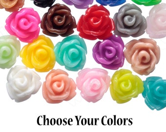 7.5MM Teeny Tiny Rose Cabochons, Rose Shaped Flatback Cabochons, Tiny Flower Cabochons, Flower Cabs, Flatback Flowers, 7.5mm x  6mm