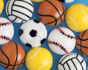 Sporty Sports Athletic Cabochons, Baseball Basketball Tennis Soccer Volleyball Cabochons, Ball Cabochons, 15mm Sports Resins