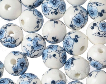 10 -  Light Blue & White Floral Porcelain Round Beads, Flower Beads, Porcelain Beads, Floral Beads 12MM, 3MM Hole (R9-082)
