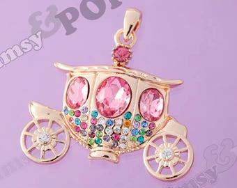 Cinderella Princess Royal Carriage 3D .925 Sterling Silver Charm MADE IN USA