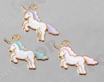 Unicorn Charms, Gold Tone Blue Pink Purple White Cartoon Unicorn Charm Pendant, Unicorn Charm, Pegasus Charm, 22mm x 12mm