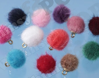 pom poms 2 Cell Phone Charms zipper charm Fur Pom Poms Agenda Charms purse charms Mini Pom Poms 2 pcs Planner Charms