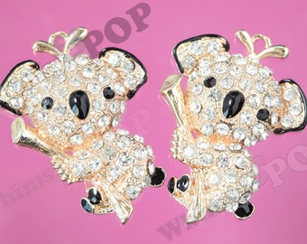 d8504ec230d9 1 - CLEARANCE SALE Gold Tone Large Sweet Koala Crystal Rhinestone Charm