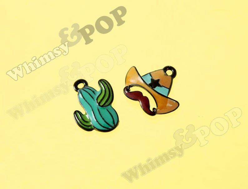 aeda706bf8e 2 - Enamel Black Cartoon Style Cactus Cowboy Hat Charm Set, Cactus Charm,  Western Charm, Cowboy Charm (R10-026)