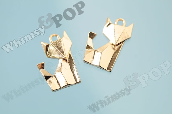 4 Paper fox origami charms gold plated tone GC34