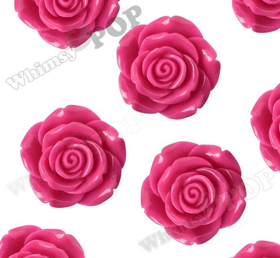 Huge Detailed Hot Pink Flower Cabochonsbeads Rose Beads Etsy