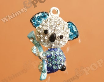1 - 3D Kawaii Koala Bear Blue Silver Tone Rhinestone Charm, Koala Charm (5-4I)