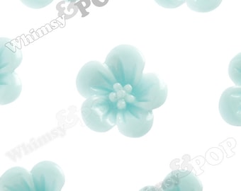 Aqua Blue Hibiscus Flower Cabochons, Flower Cabs, Hibiscus Cabochon, Flower Shaped, 13mm x 5mm (R2-044)