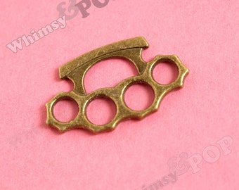 1 - Brass Knuckles Charm, Antique Bronze Finish Knuckle Buster Pendant, 32mm x 20mm (4-5A)