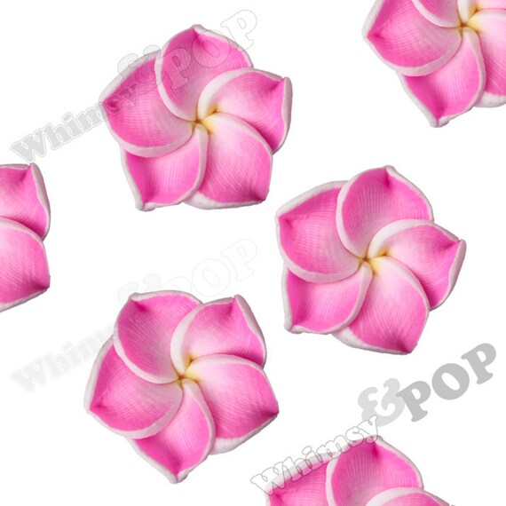 Pink plumeria flower beads fimo clay plumeria beads drilled etsy image 0 mightylinksfo