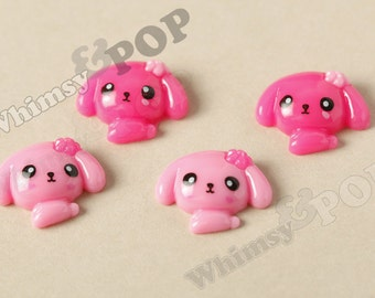 4 - Kawaii Pink Puppy Deco Resin Flatback Cabochons, Flat Back Embellishment, Dog Cabochons, Kawaii Dogs (R6-135)